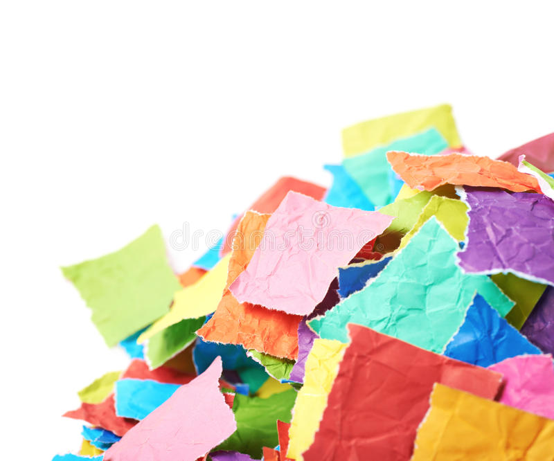 Pile of torn paper pieces isolated royalty free stock photo