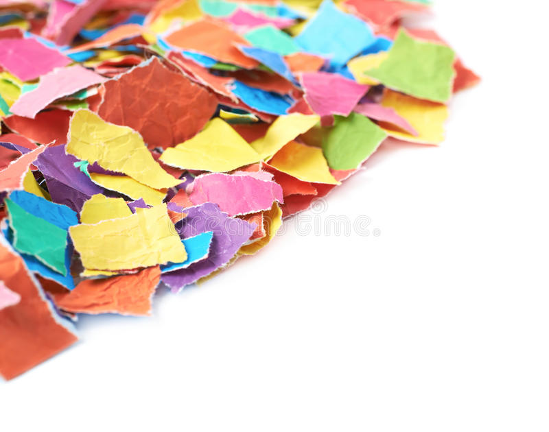 Pile of torn paper pieces isolated stock photos