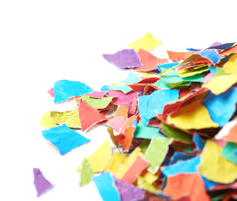 Pile of torn paper pieces isolated royalty free stock photography