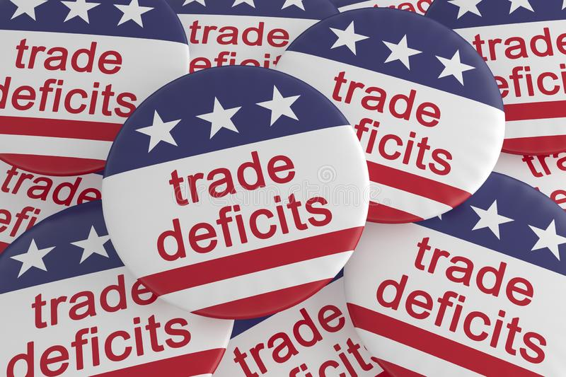 Pile of Trade Deficits Buttons With US Flag, 3d illustration. USA Politics News Badges: Pile of Trade Deficits Buttons With US Flag, 3d illustration vector illustration