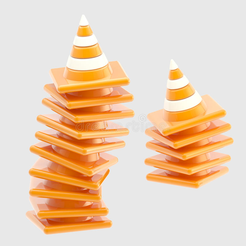 Pile of traffic safety orange road cones isolated royalty free illustration