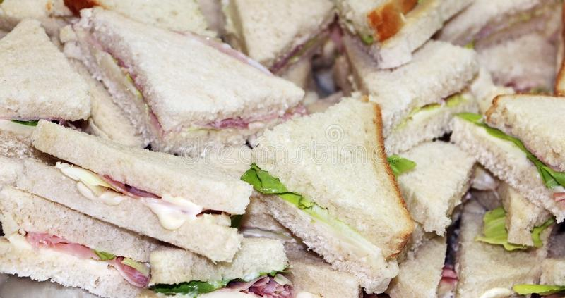 Sandwiches as snack in triangle shape royalty free stock images