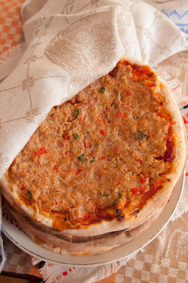 Pile of turkish lahmacun (arab pizza) on plate stock images