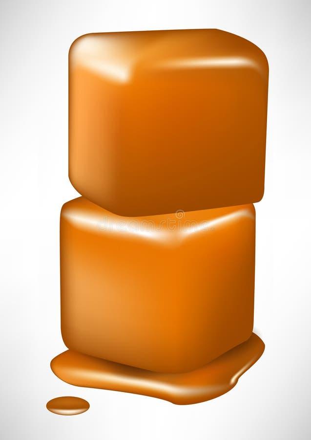 Pile of two caramel melting cubes