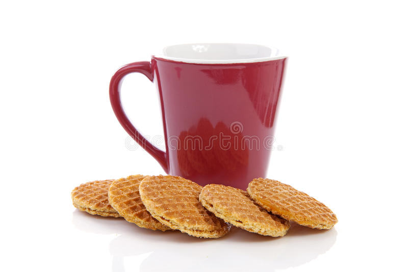Pile of typical Dutch stroopwafels stock photography