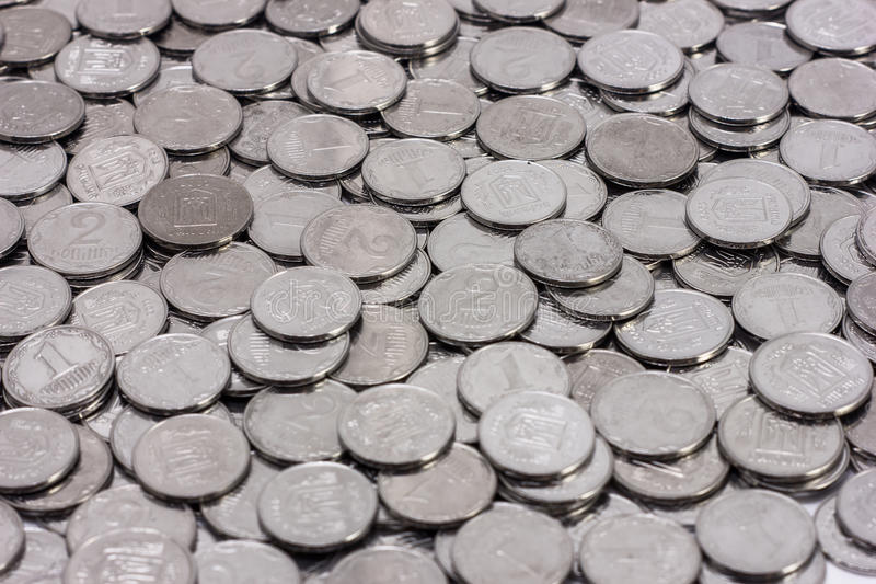 Pile of ukrainian coins pattern stock images