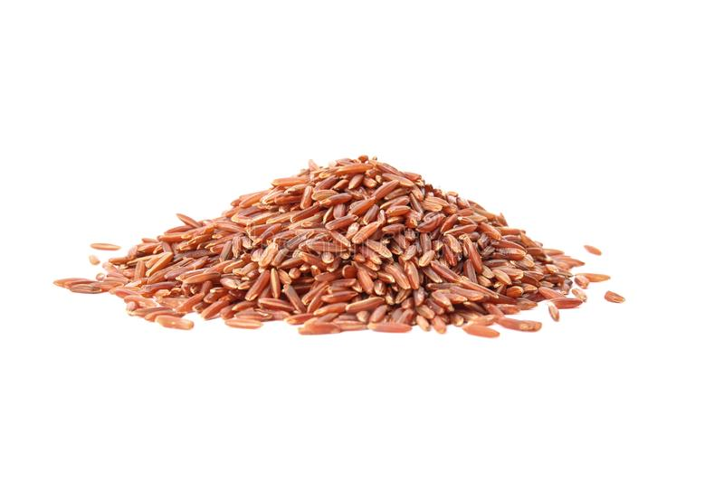 Pile of uncooked red rice royalty free stock photography