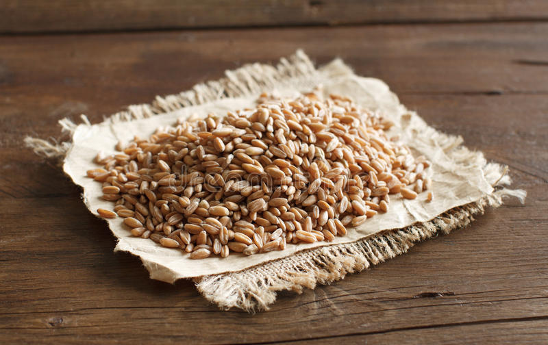 Pile of Uncooked whole spelt stock images