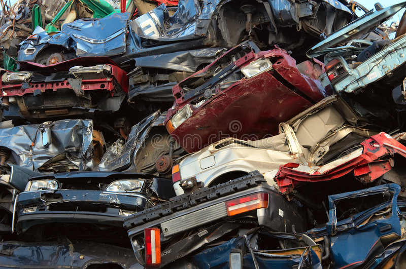 Pile of used cars stock image
