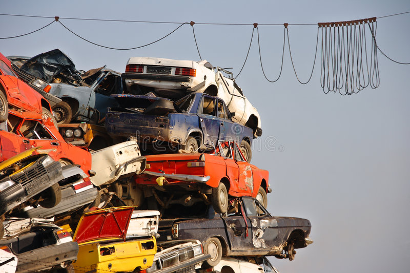 Pile of used cars royalty free stock photography