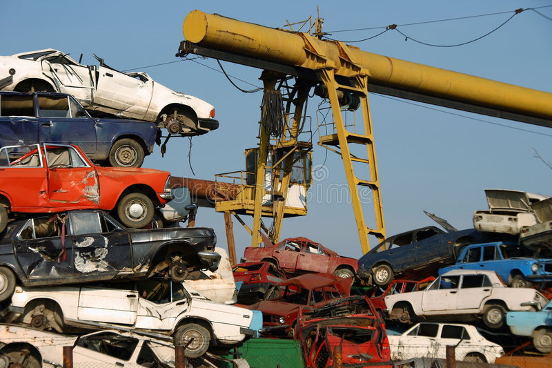Pile of used cars royalty free stock photo