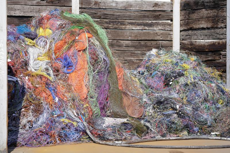 Pile of used plastic and rubber car wires stock photo