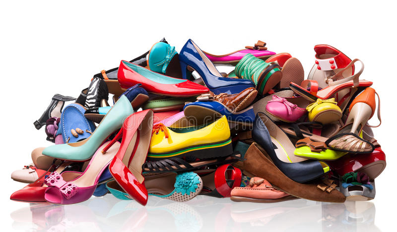 Download Pile Of Various Female Shoes Over White Stock Image - Image of fashionable, multicolor: 29002499