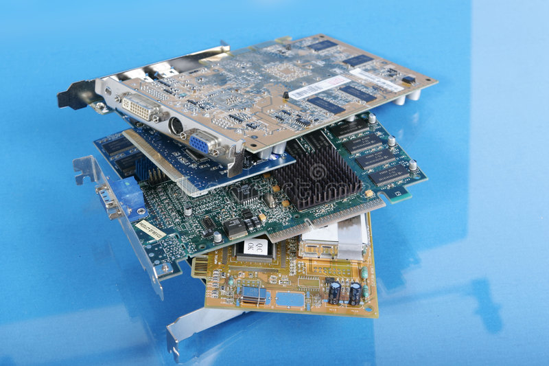 Pile of video cards royalty free stock photos