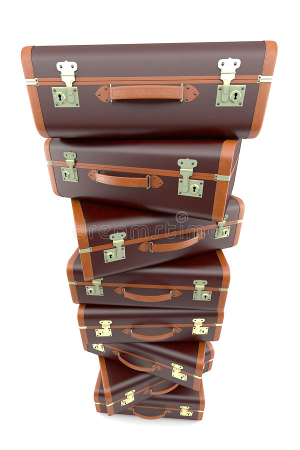 Download Pile Of Vintage Brown Suitcases Royalty Free Stock Image - Image: 21552416