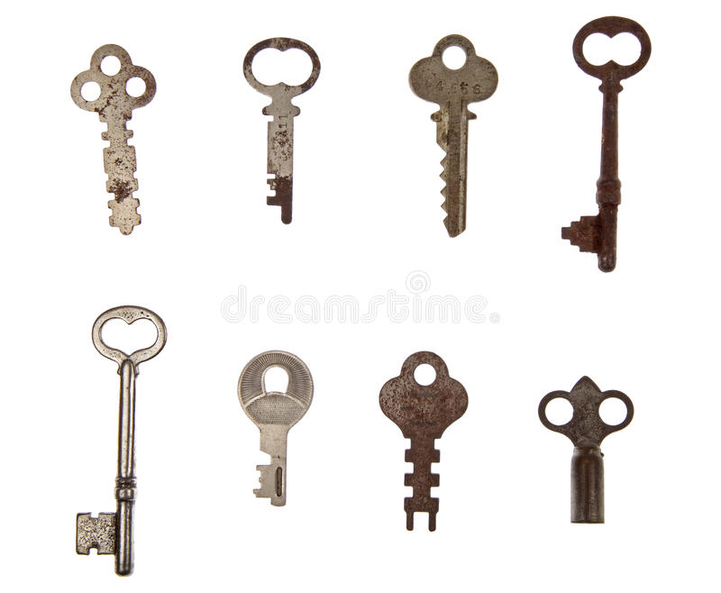 Pile of vintage keys royalty free stock images
