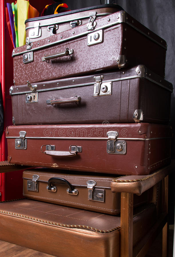 Download Pile of suitcases stock photo. Image of retro, past, second - 30141836