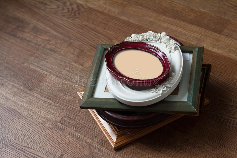Pile of vintage wood picture frames stock image