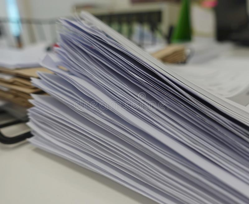 Pile of white paper report royalty free stock images