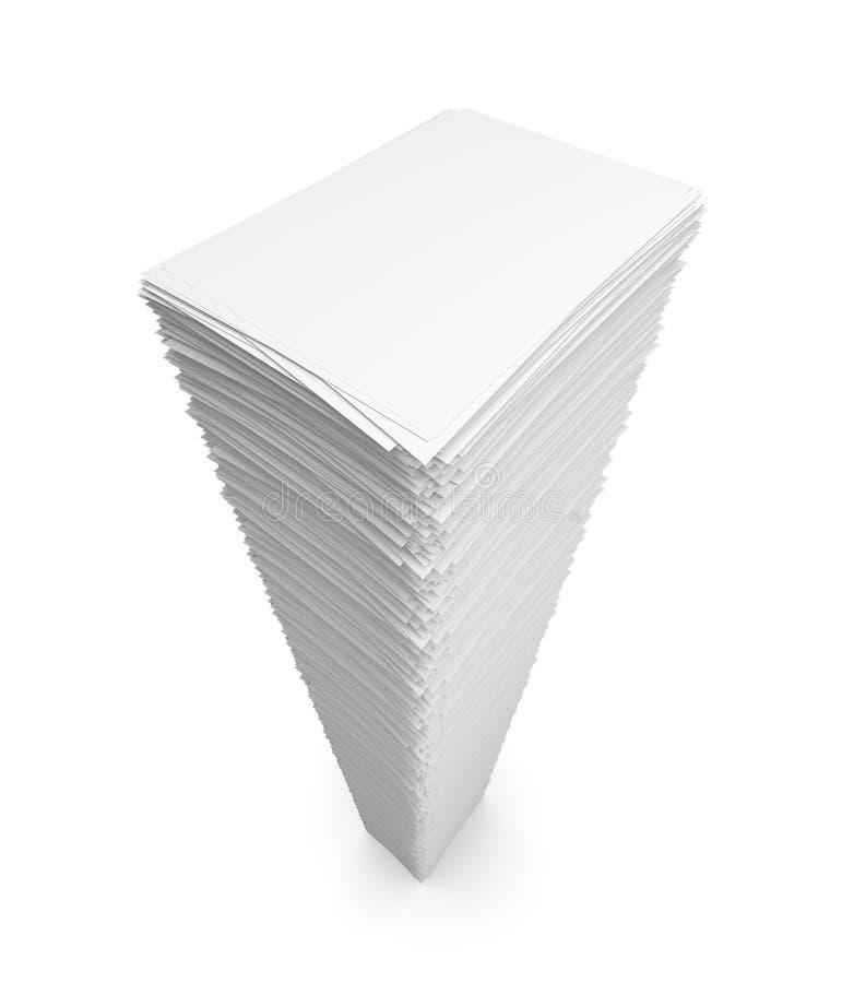 Pile of white paper sheets stock illustration