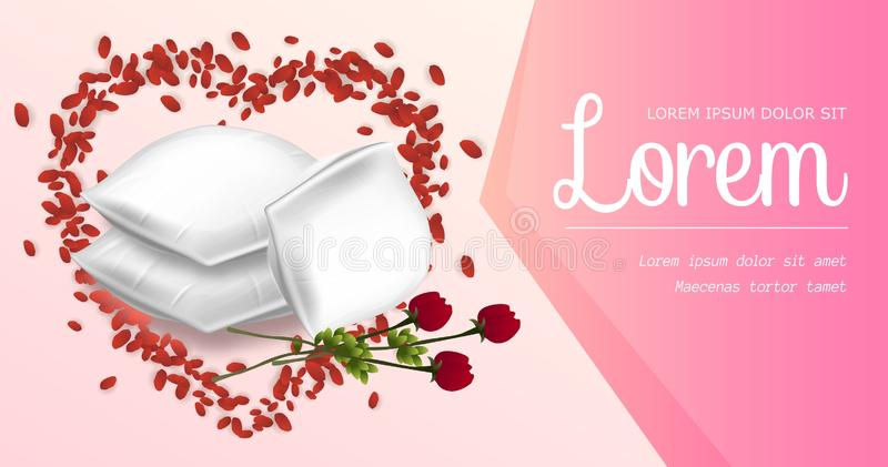 Rectangular Pillows with Beautiful Red Rose Flower stock illustration