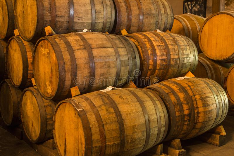 Pile of wine barrels royalty free stock photos