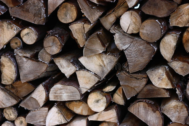 Pile of wood. Frosty stack of wood in winter stock image