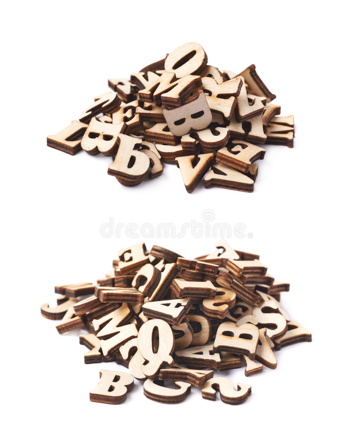 Pile of wooden letters isolated stock images