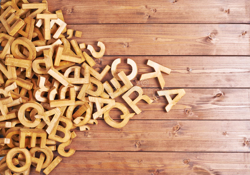 Pile of wooden letters royalty free stock images