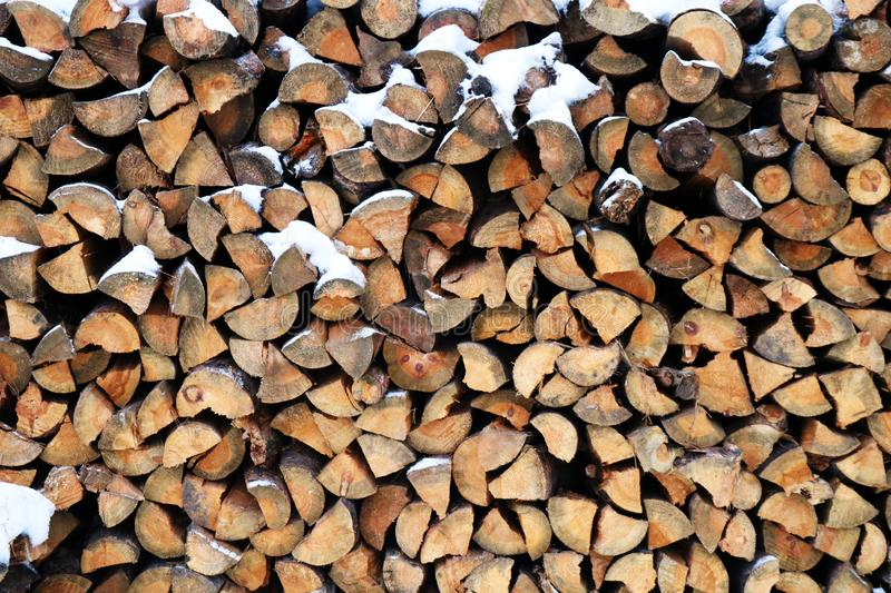A pile of wooden logs royalty free stock photography