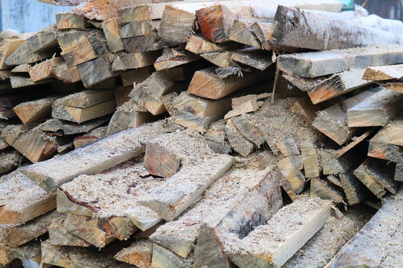 A pile of wooden logs stock photo