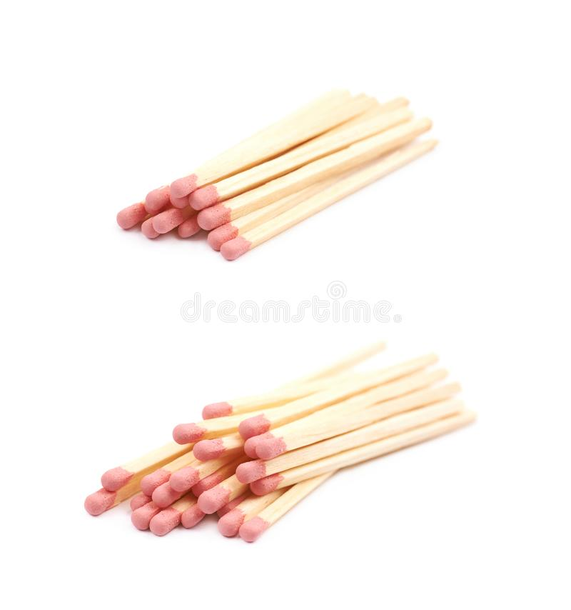 Pile of wooden matches isolated stock photos