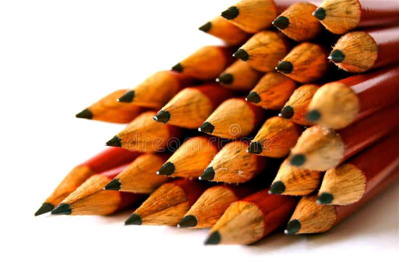 Pile of wooden pencils royalty free stock images