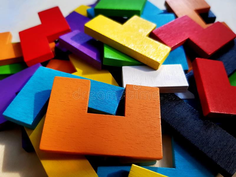 Pile of Wooden Puzzle Blocks For Brain Training stock photography