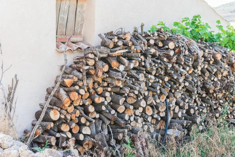 Pile of woods on house facade royalty free stock image
