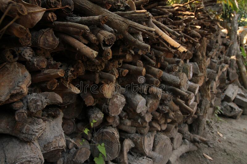 Pile of woodwork in a garden. Pile of woodwork in a backyard of Thai house, ready to use it for cooking stock photography