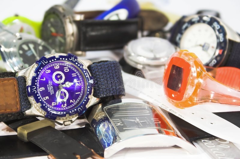 Download Pile of wrist watches stock photo. Image of clock, chromed - 4887750