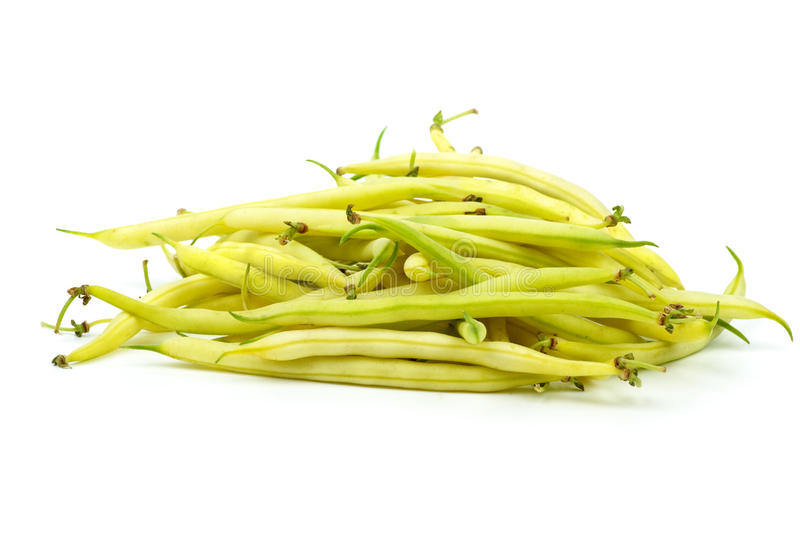 Pile of yellow wax bean pods stock image