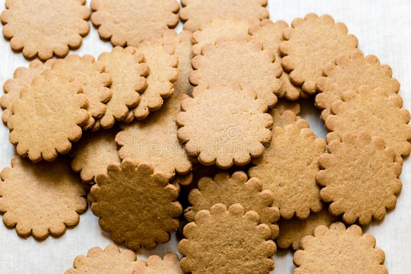 Pile of yummy Ginger cookies, traditional Christmas treat. Gingerbread food background royalty free stock images