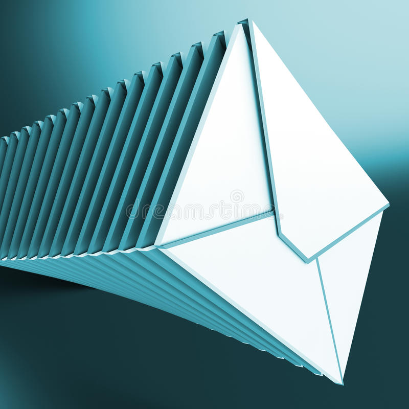 Free Piled Envelopes Shows Inbox Messages On Computer Stock Images - 32068394