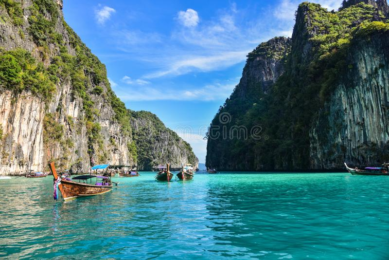 Pileh盐水湖在Ko披披岛-泰国 库存照片