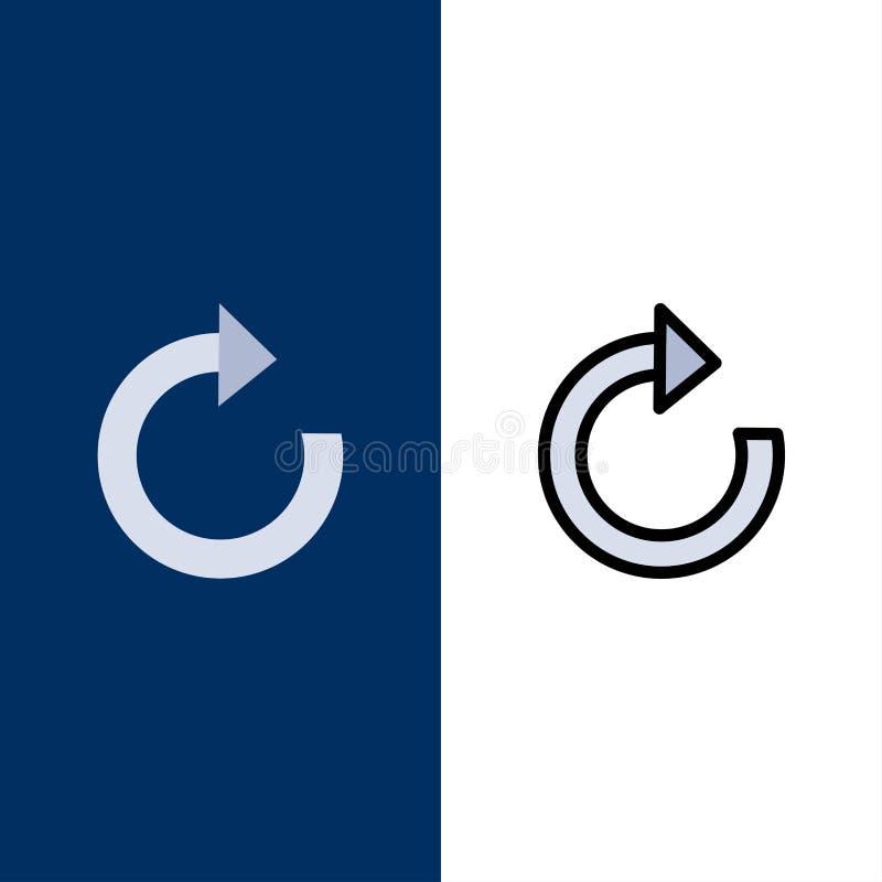 Pilen återställande, förnyar symboler Lägenheten och linjen fylld symbol ställde in blå bakgrund för vektorn stock illustrationer