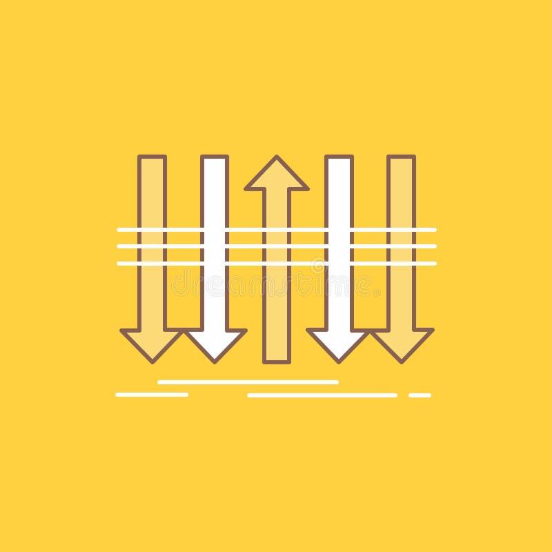 Pilen affären, skillnad som var framåt, plan linje för egenart, fyllde symbolen H?rlig logoknapp ?ver gul bakgrund f?r UI vektor illustrationer