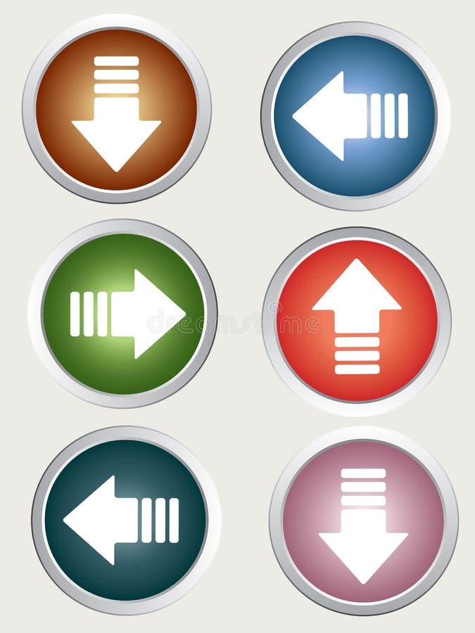 pilen buttons riktnings vektor illustrationer