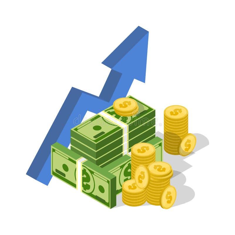 pilen coins finansiell guld- framgång för begreppsdiagram Vektorpengargraf Isometrisk affärssymbol royaltyfri illustrationer
