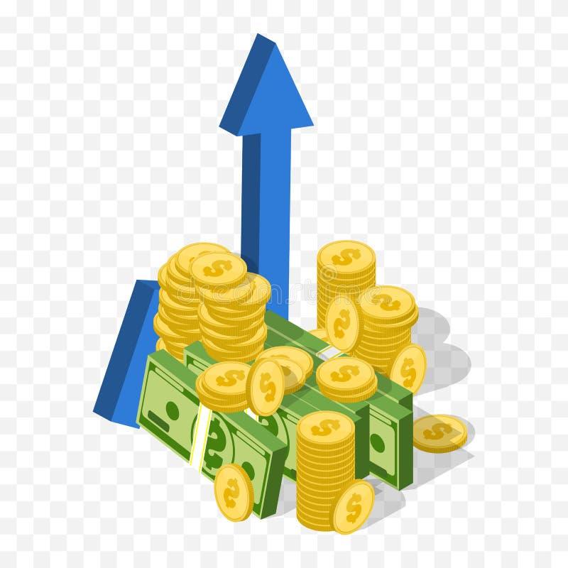 pilen coins finansiell guld- framgång för begreppsdiagram Vektorpengargraf Isometrisk affärssymbol vektor illustrationer