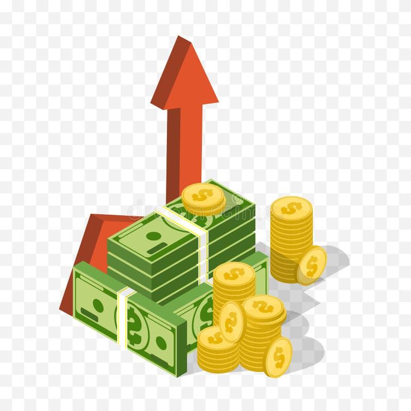 pilen coins finansiell guld- framgång för begreppsdiagram Vektorpengargraf Isometrisk affärssymbol stock illustrationer