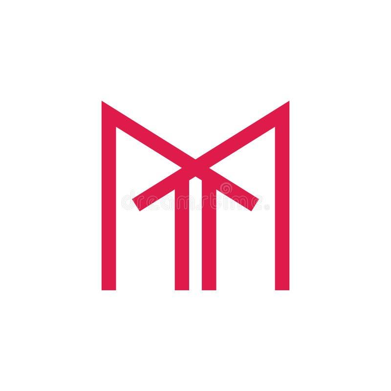 Pilen för bokstav M rotar upp den hem- logovektorn stock illustrationer