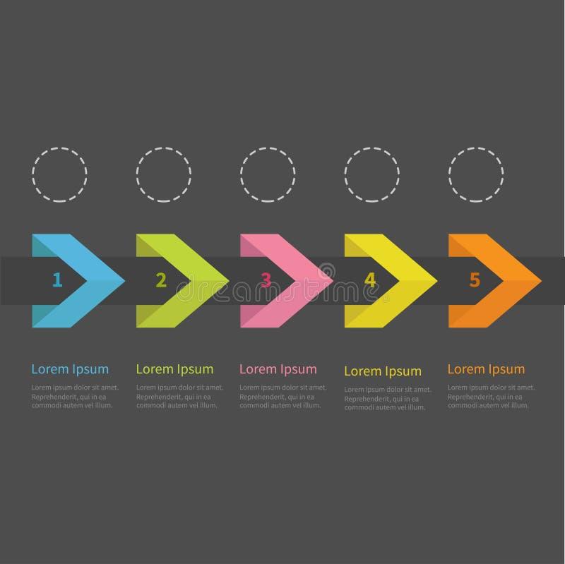 Pilen för det Infographic fem momentbandet rusade cirkeln och text mall För bakgrundslägenhet för Timeline mörk design royaltyfri illustrationer