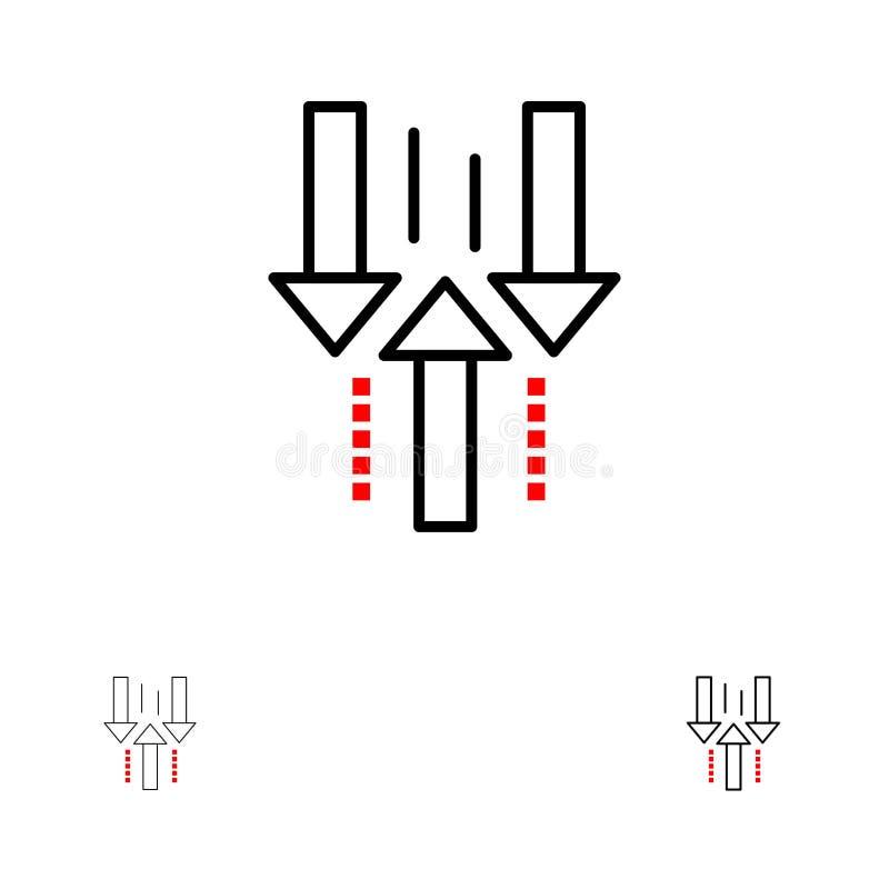 Pilen ner, laddar upp, nedladdar upp den djärva och tunna svarta linjen symbolsuppsättning vektor illustrationer
